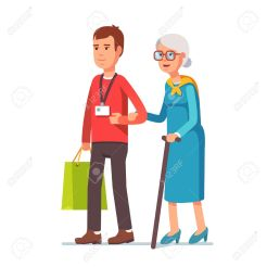 54217191-young-man-social-worker-helping-elder-grey-haired-woman-with-grocery-shopping-strolling-with-old-lad-Stock-Vector